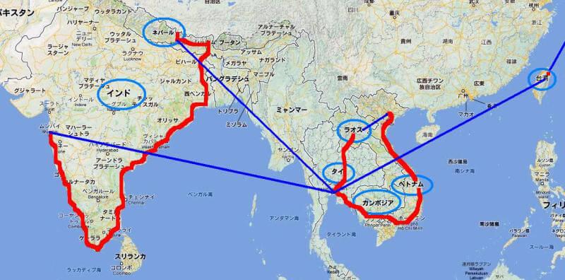 アジア放浪8ヶ月の経路